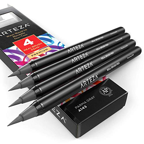 Arteza Real Brush Pens (A143 Parma Gray), Pack of 4, for Watercolor Painting with Flexible Nylon Brush Tips, Paint Markers for Coloring, Calligraphy and Drawing