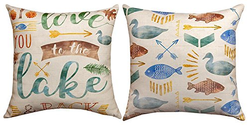 THROW PILLOWS - 'TO THE LAKE' REVERSIBLE INDOOR OUTDOOR PILLOW - 18' SQUARE