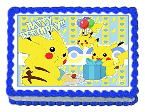 Pikachu Pokemon Birthday Party Edible image/Cake Topper 1/4 sheet Frosting by cakedeco by Cake&Deco