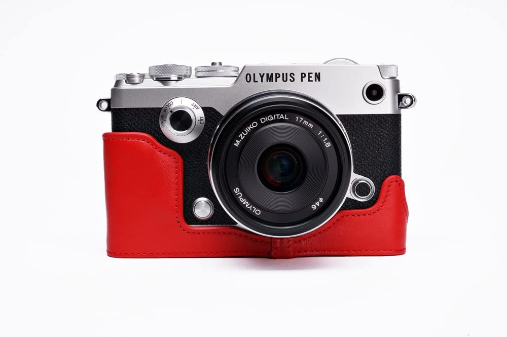 Handmade Genuine Real Leather Half Camera Case Camera Bag for Olympus Pen-F Pen F 7 Colors