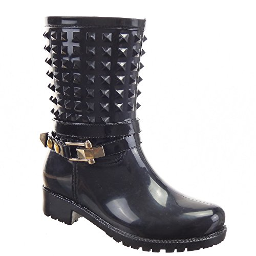 Sopily - Scarpe da Moda Stivaletti - Scarponcini Stivali pioggia Cavalier al polpaccio donna Tacco a blocco 3.5 CM - Nero