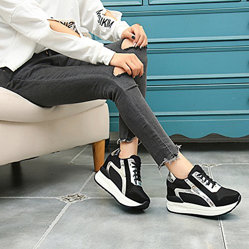 Btrada Womens Wedge Hidden Increased Sneakers Lace-Up Thick Bottom Casual Outdoor Sports Running Shoes Black qZ2MrL