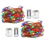 Viewpick 2 Pack 33ft 100 Mini LEDs Copper Wire Battery Operated String Lights Fairy Lights with Remote Control,Multicolor