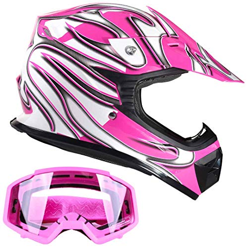 Kids Youth Offroad Gear Combo Helmet & Goggles DOT Motocross ATV Dirt Bike MX Motorcycle Pink - Small ()