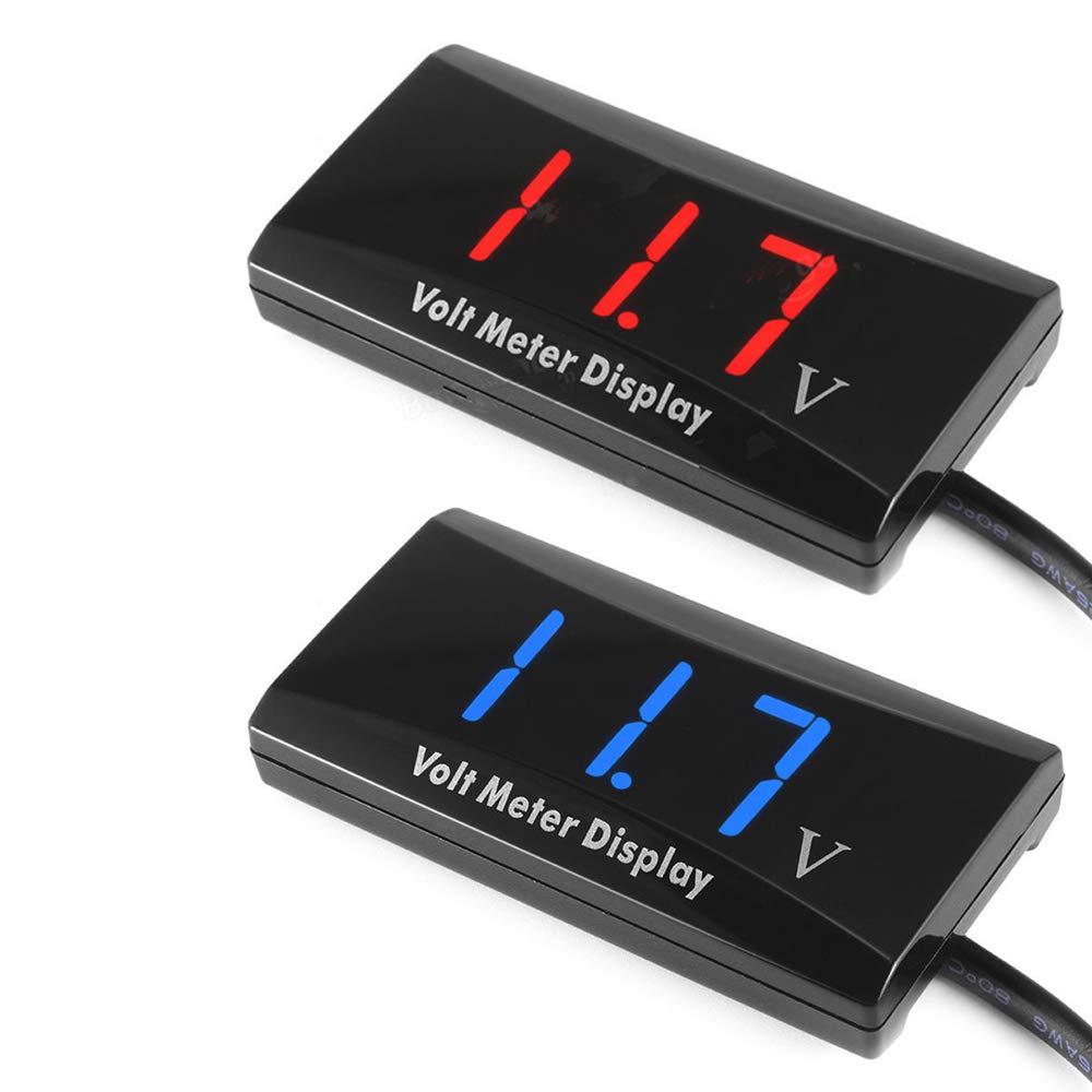 KKmoon Digital Voltmeter Voltage Gauge 12V Digital LED Display Panel Meter for Car Motorcycle