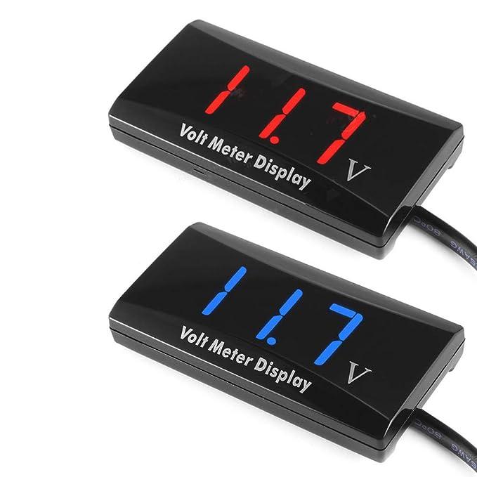 Carrfan Metro del Panel de Pantalla LED del Indicador de Voltaje 12V Digitaces del Volt/ímetro de Digitaces para la Motocicleta del Coche