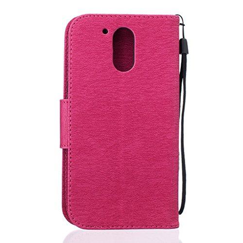 Trumpshop Smartphone Carcasa Funda Protección para Motorola Moto G5 + Dont Touch My Phone (Bebe oso) Rojo + PU Cuero Caja Protector Billetera con Cierre magnético Choque Absorción Rojo