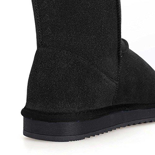 ACEVOG Zapatos Invierno Botas de Nieve de forradas Planas Clásicas Para Mujer Navidad Negro