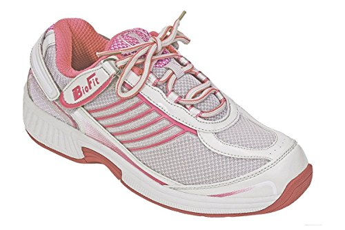 Image of the Orthofeet Verve Comfort Wide Orthopedic Diabetic Athletic Shoes for Women Fuchsia Fabric & Leather 8.5 XW US