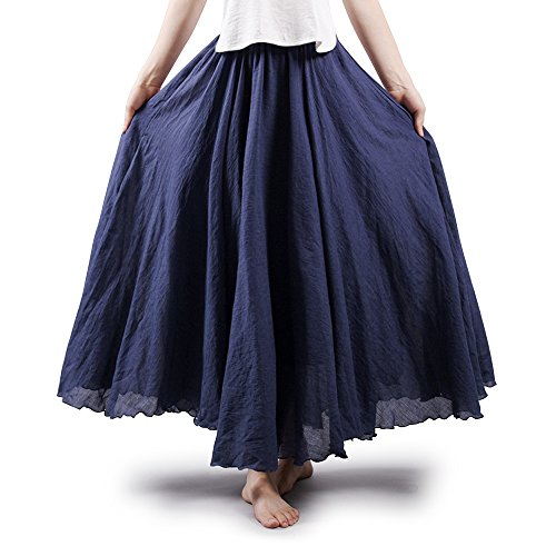 (Women's Full Circle Elastic Waist Band Cotton Long Maxi Skirt Dress Navy Blue 85CM Length)