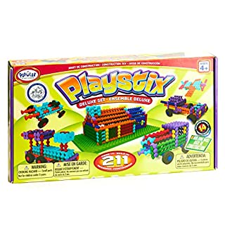 POPULAR PLAYTHINGS Playstix Deluxe Set Construction Toy Building Blocks 211 Piece Kit