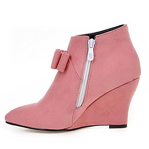 Women's TAOFFEN Ankle Wedge Pink Boots dqpUvq