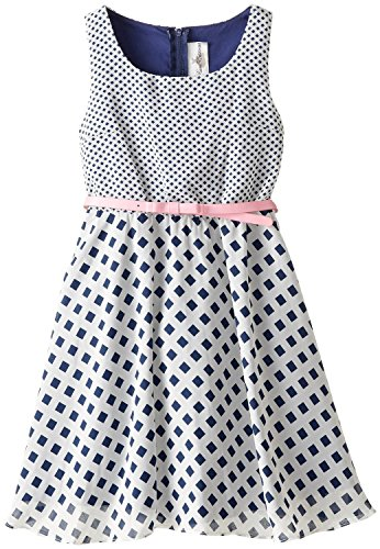 Rare Editions Big Girls' Mixed Print Chiffon Dress, Navy/White, 7