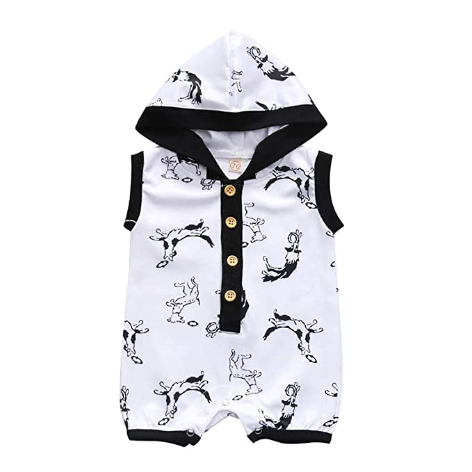 Infant Kids Clothes Baby Girl Boy Cartoon Hooded Top Romper Jumpsuit Outfit Set