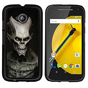 Qstar Arte & diseño plástico duro Fundas Cover Cubre Hard Case Cover para Motorola Moto E2 E2nd Gen (Cráneo extranjero del Mal)