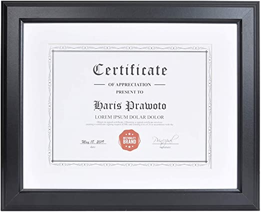 11x14 Document Picture Frame 4 Pack Matted to 8.5x11 Frame Diploma Frame 8.5x11 Certificate Frame Wall and Desktop Display Document Frame Glass Front Solid Wood Frame 11 x 14 Set of 4