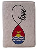 [OxyCase] Designer Light Weight PU Leather Passport Holder Cover/Case - Infinity Love Kiribati Flag Design Printed Cute Travel Wallet for Girls/Women