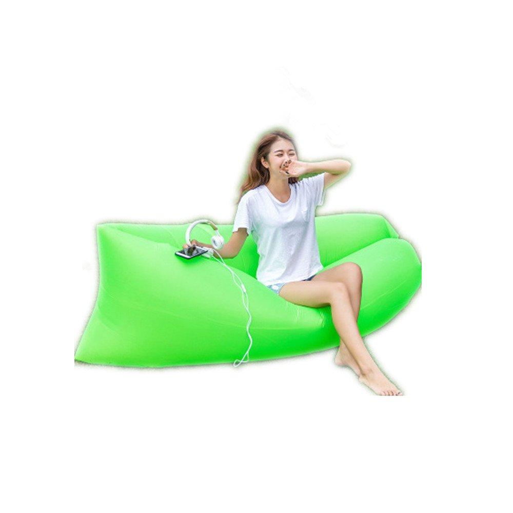 Mad sorrow Im Freien tragbares aufblasbares Sofa der Luftschlauch-Blätter Leute Grün-Freizeit schnelles aufblasbares Bett faules Strandsofa