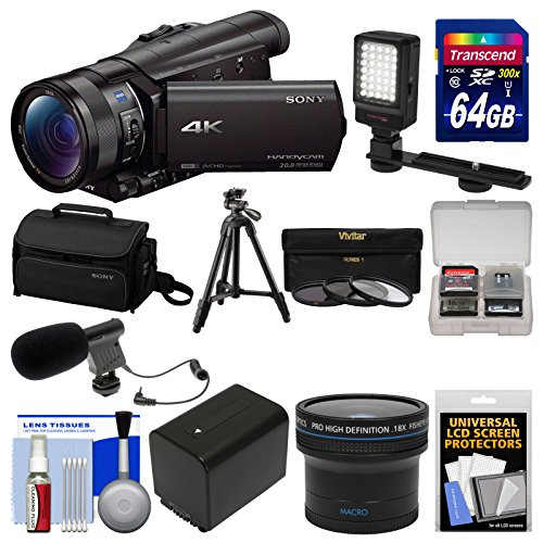 Sony Handycam FDR-AX100 Wi-Fi 4K HD Video Camera Camcorder with 64GB Card + Case + LED Light + Battery + Mic + Tripod + Fisheye Lens + Kit by Sony