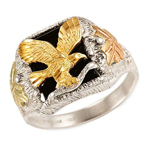 Men's Onyx with Diamond-Cut Eagle Ring, Sterling Silver, 12k Green and Rose Gold Black Hills Gold Motif, Size 12