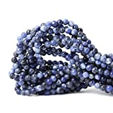 jewelry bead making - Qiwan 60PCS 6mm Blue Sodalite Natural Gemstone Loose Beads Round Crystal Energy Stone Healing Power for Jewelry Making 1 Strand 15