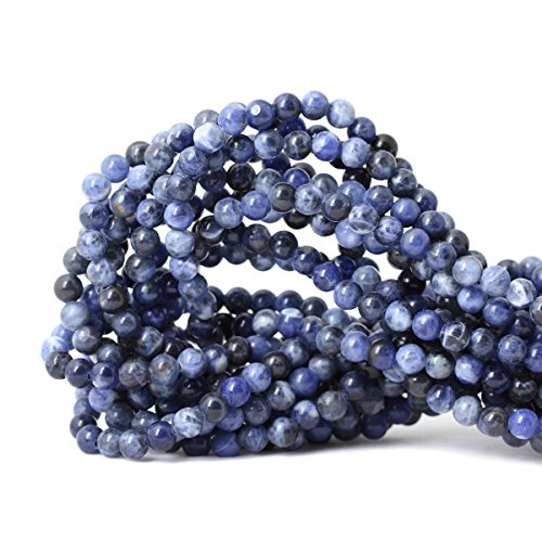 Qiwan 60PCS 6mm Blue Sodalite Natural Gemstone Loose Beads Round Crystal Energy Stone Healing Power for Jewelry Making 1 Strand ()