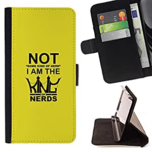 KingStore / Leather Etui en cuir / HTC One M8 / King Of Nerds - Funny Typography