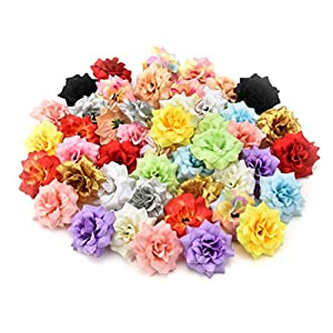 Fake flower heads in bulk wholesale for Crafts Peony Daisy Artificial Flower Home Party Decoration Scrapbooking Accessories Wreath DIY Head Craft Fake Flowers Decor 30PCs 4.5cm (Colorful) 22