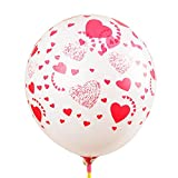 BM AVESTA -Pack of 15-12' White 'Heart' Printed Latex Balloons For Birthday, Wedding, Anniversaries, Ceremony and Parties Decorations, White, Pink and Red Colors , Premium Quality …