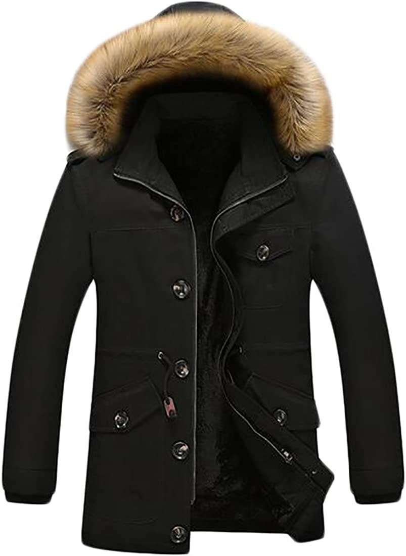 xtsrkbg Mens Casual Loose Thicken Faux Fur Lined Faux Fur Hoodie Trench Jacket Coat