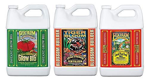 (Fox Farm Liquid Nutrient Trio Soil Formula: Big Bloom, Grow Big, Tiger Bloom (Pack of 3 - 1 Gallon Bottles) Bundled with Twin Canaries Chart &)