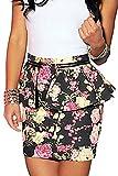 Dear-lover Women's Floral Print Peplum Pencil Mini Skirt D20