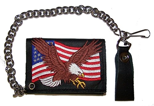 EMBROIDERED AMERICAN FLAG EAGLE Mens Biker Leather Tri-fold Wallet with Chain