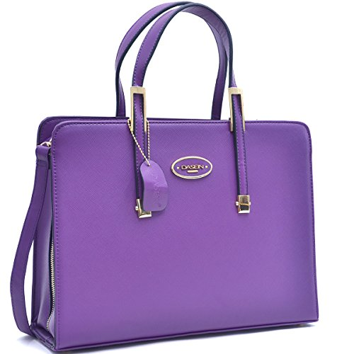 Women Leather Tote Briefcase Laptop Tablet Bag Large Work Handbag Zip Around Purple
