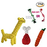 Cenme Puppy Chew Dog Toys Interactive and Chewing Animal Design Cotton Rope Toys With Puppy Pet Play Chew and Training Toy for Medium to Small Pet Teething by (Giraffe, Chicken Leg & Carrot)
