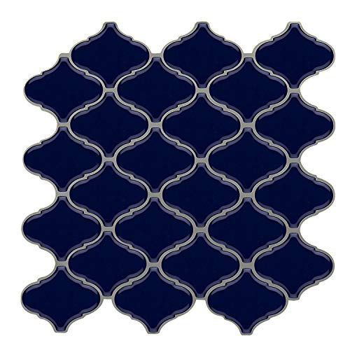 Vamos Tile Blue Arabesque Peel and Stick Tile Backsplash,3D Self Adhesive Wall Tiles for Kitchen & Bathroom-10 x 10
