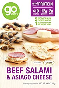 GoPicnic Ready-to-Eat Meals Salami & Cheese, 3.6 Ounce, (Pack of 6)