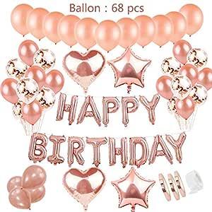 Decoración de Cumpleaños Oro Rosa Para Niñas: Letras Globos ...
