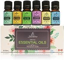 Blackstone Canadian 100% Natural Essential Oils Set of 6 - Eucalyptus, Tea Tree, Lavender, Peppermint, Lemongrass, Sweet Orange