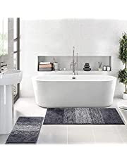 Vaukki Luxury Soft Bathroom Rugs Set of 2, Non Slip Washable Plush Bath Floor Mats, Microfiber Shaggy Absorbent Striped Bath Carpet for Tub, Bathroom and Shower (16'' X 24'' + 20'' X 32'', Coffee)