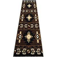 Champion Rugs Southwest Native American Indian Chocolate Brown Area Rug (2 Feet X 7 Feet Runner)
