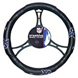 15 X 15 Inches NFL Titans Steering Wheel Cover, Football Themed Three Sides Team Logo Name Rubber Grip Sports Patterned, Team Logo Fan Merchandise Athletic Team Spirit, Black Blue Red Grey, Pvc