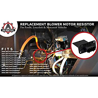 HVAC Blower Motor Resistor - Fits Ford Expedition, Escape, F150, F250, F350 Super Duty, Mustang, Lincoln Mark LT, Mercury Mariner Replaces 3F2Z-18591-AA, YH-1715 - Year 2004-2020 Models and More: Automotive