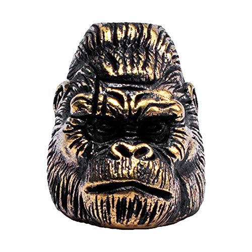 (Metalfable Gorilla Paracord Bead Hand-Casted, Brass Charms EDC Accessories for Pendant Buckle,Keychain Pendant,Knife Lanyard,Zipper Pull)