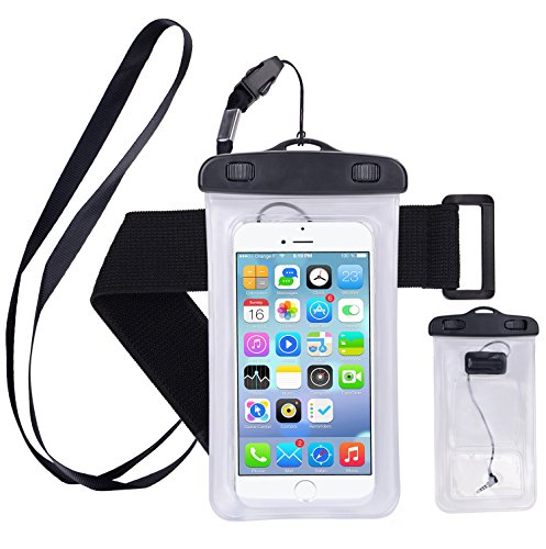 Waterproof Case,Cell Phone Universal Dry Bag Pouch (Floatable) with Headphone Jack+Lanyard+Armband [Clear] for Apple iPhone 7 6 Plus,Samsung S8 S7 S6 edge, Smartphone Devices Up To 6.0