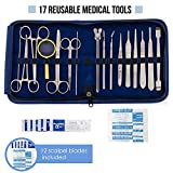 disposable lab spatula - Advanced Dissection Kit - 29 pieces total. High Grade Stainless Steel Instruments perfect for Anatomy, Biology, Botany, Veterinary and Medical Students - By Poly Medical.