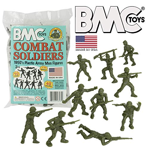 BMC Classic Green Plastic Army Men - 40pc WW2 Soldier Figures - Made in USA