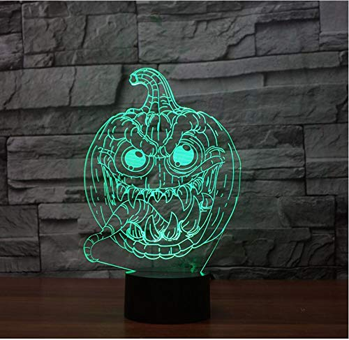 3D Halloween Pumpkin Night Light Touch Table Desk Optical Illusion Lamps 7 Color Changing Lights Home Decoration Xmas Birthday Gift