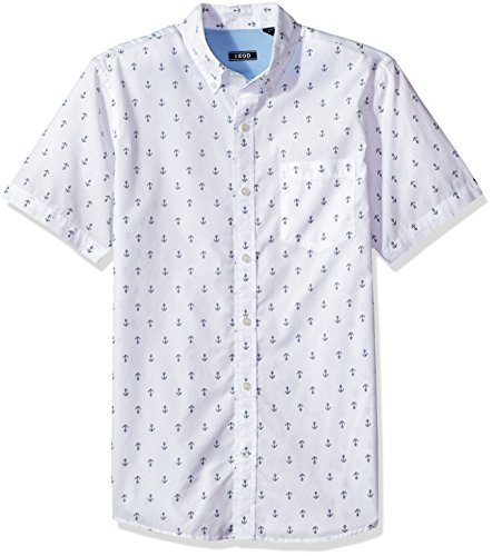 - IZOD Men's Breeze Short Sleeve Button Down Patterned Shirt, Bright White Print, XX-Large