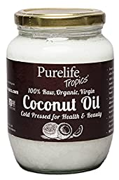 PurelifeTropics Raw Organic Virgin coconut oil 16.9oz Non GMO for cooking, hair care, skin care and bottled from fresh coconuts
